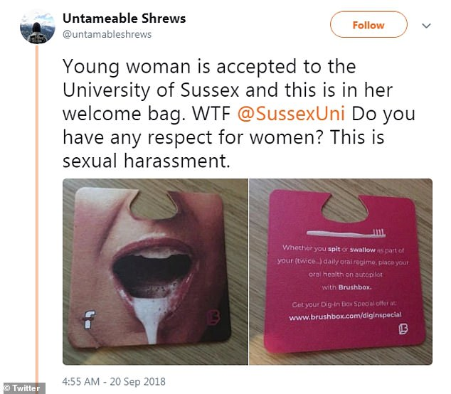 The advert was shared on Twitter by feminist group Untameable Shrews, who wrote:'WTF Do you have any respect for women? This is sexual harassment.'