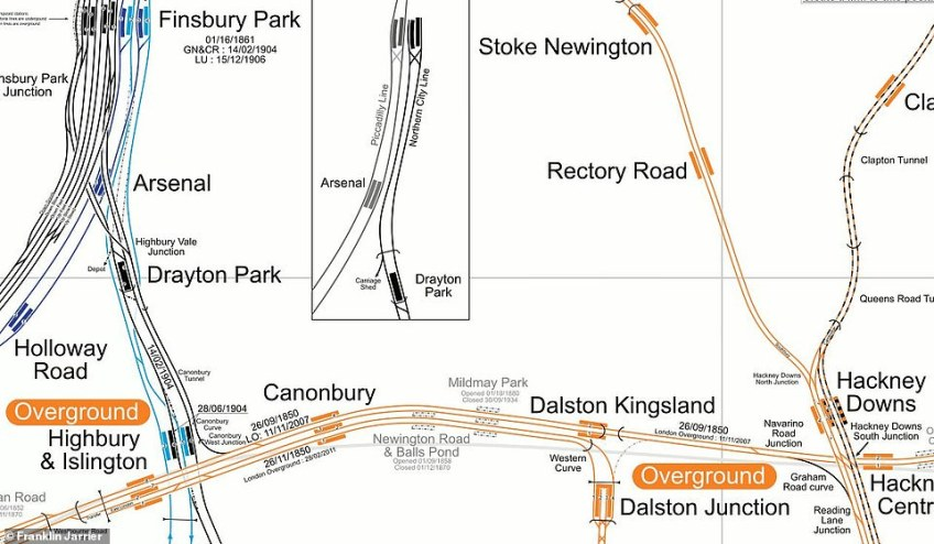 Tracking the past: Here closed stations Mildmay Park and Newington Road & Balls Pond are indicated