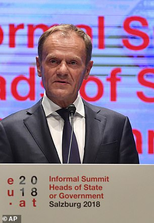 At a press conference in Salzburg (pictured), EU council chief Donald Tusk insisted Theresa May's Chequers plan would undermine the single market