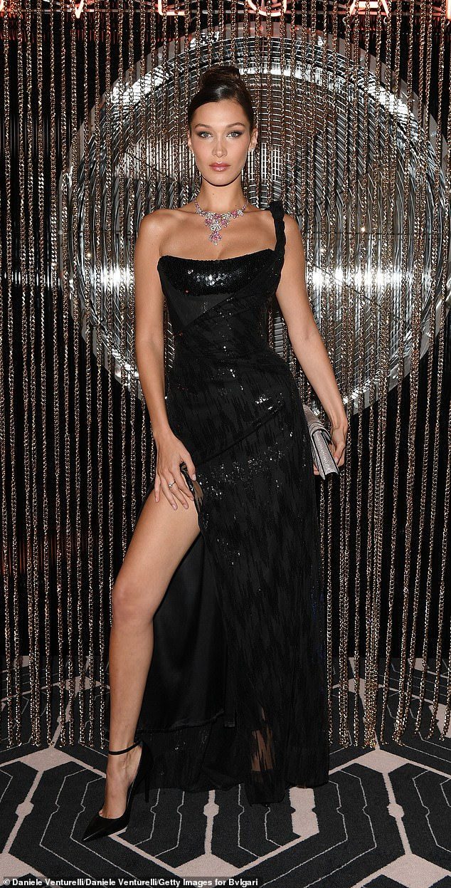Looking good:Bella Hadid looked stunning as she attended the Bulgari Spring/Summer '19 dinner party in Italy's fashion capital on Friday