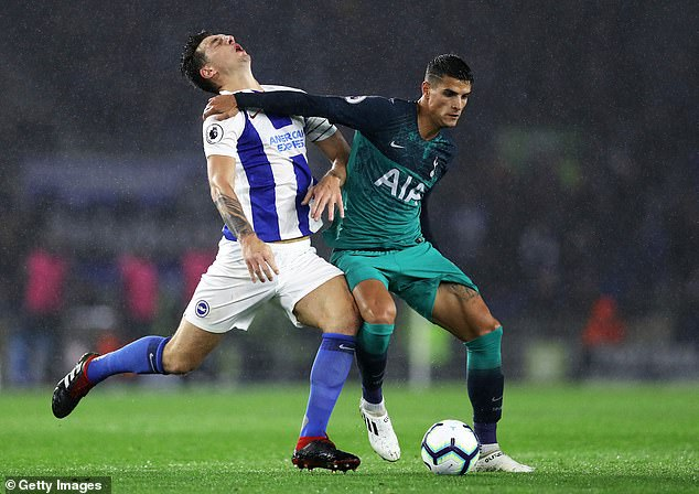 Lewis Dunk copped an elbow to the face late on against Spurs on Saturday evening