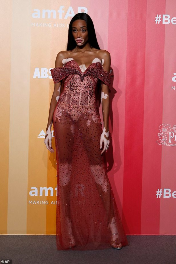 Winnie Harlow exposes some serious skin in sheer dress as she leads the glamour with Amber Valletta and Olivia Palermo at amfAR gala dinner