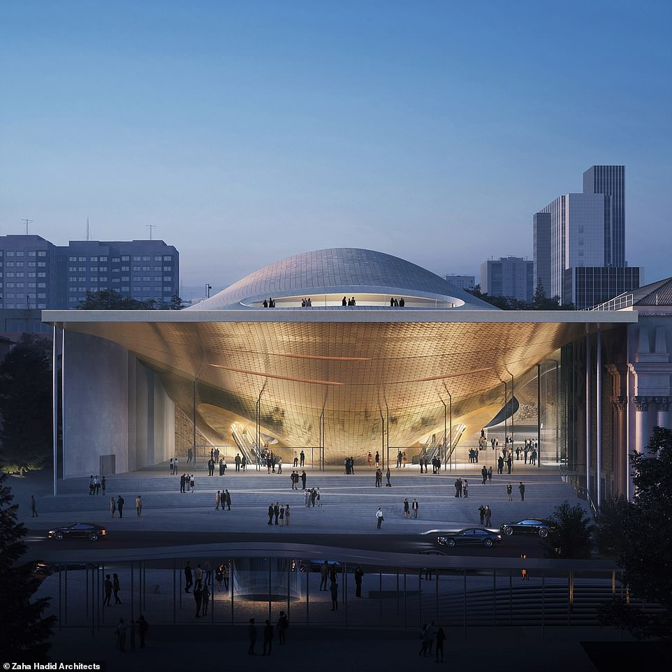 An artist's impression showing Zaha Hadid Architects' winning design for the new Sverdlovsk Philharmonic Concert Hall in Yekaterinburg, Russia