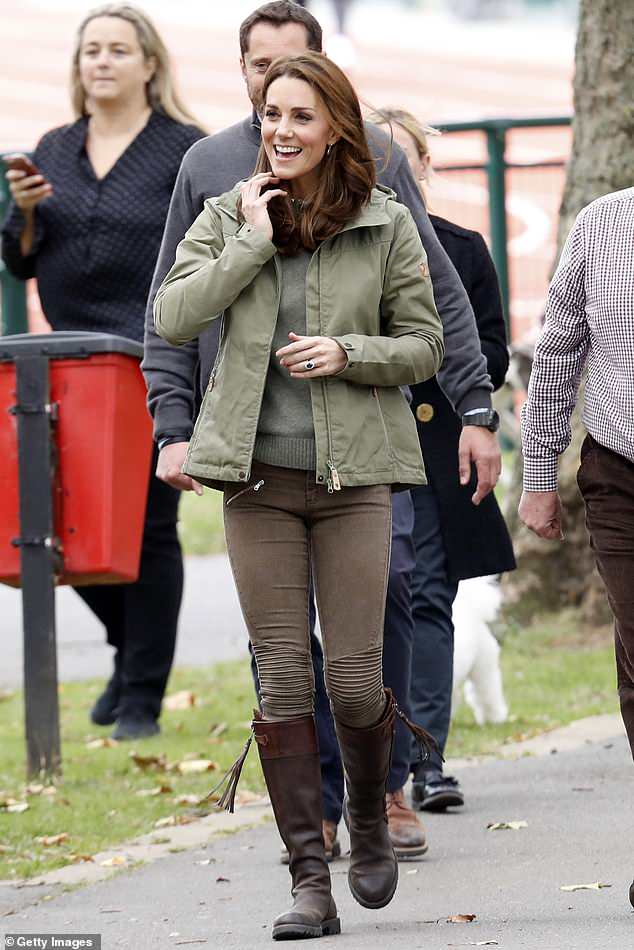 October, 2018: The Duchess of Cambridge sported the boots by Penelope Chilvers as she visited the Sayers Croft Forest School and Wildlife Garden at Paddington Recreation Ground in west London