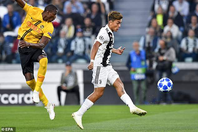 Paulo Dybala breaks the deadlock with a volleyed finish in the fifth minute against Young Boys