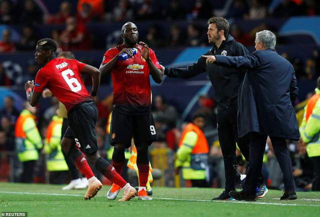 Mourinho and assistant coach Michael Carrick issue instructions to Pogba and Lukaku as they look for a breakthrough