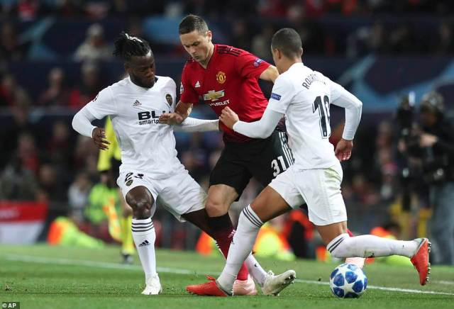 Matic is crowded out near the touchline by Batshuayi and Rodrigo as he tries to push his team up the field on Tuesday night