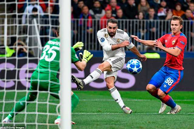 Dani Carvajal attempts a shot as he's closed down inside the box by Russia midfielder Ivan Oblyakov