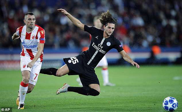 Adrien Rabiot falls to the ground during the second group game of the Champions League