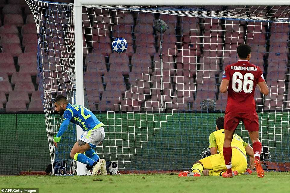 Insigne runs to celebrate his last-gasp winner as Trent Alexander-Arnold (No 66) and Alisson realise they have conceded