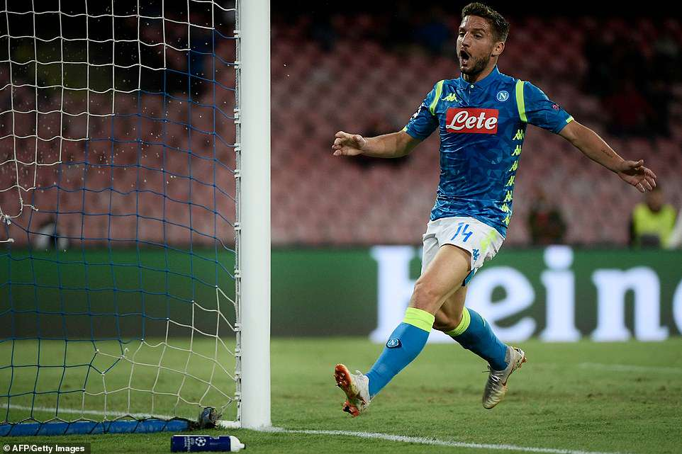 Mertens reacts after seeing his effort cannon back off the woodwork in what was to that point the best chance of the match