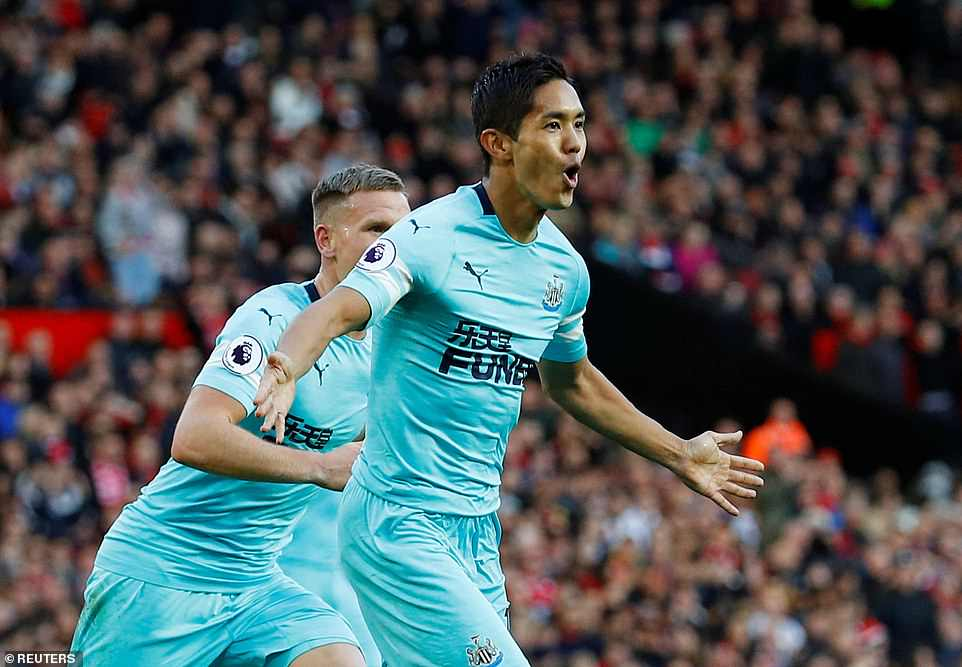 Yoshinori Muto is delighted after he scored his first goal for Newcastle to double his side's advantage in the 10th minute