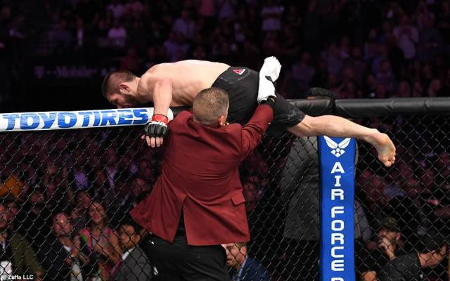 Nobody could contain Khabib in the initial moments after he took the win as he climbed out of the octagon to enter a fight