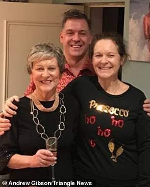 Son Andrew (pictured with Mrs Gibson and sister Helen Hughes) said his mother was in 'floods of tears' after the incident