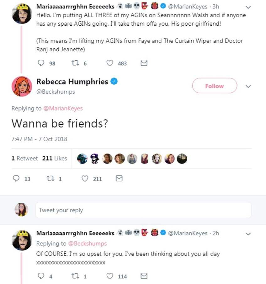 Support:Rebecca broke her social media silence on the shock kiss by replying to a tweet by author Marian Keyes, who sent her support to her on Sunday evening