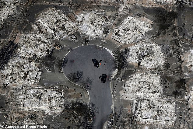 FILE - In this Oct. 14, 2017 file photo, an aerial view shows the devastation of the Coffey Park neighborhood after the Tubbs wildfire swept through Santa Rosa, Calif. President Donald Trump's tariffs on imported construction materials are making it more expensive to rebuild homes lost to wildfires and other natural disasters. The taxes come at a time when several other factors are also driving up building costs. (AP Photo/Marcio Jose Sanchez, File)