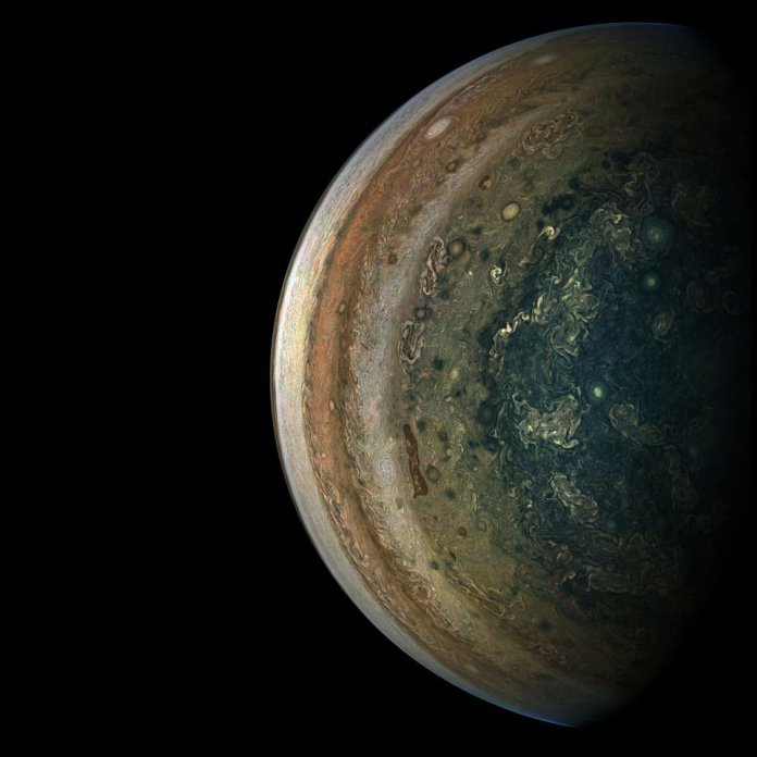 The image, taken in the last few minutes of a close flyby of Jupiter, NASA's spacecraft Juno, drew a daunting look at the swirling southern hemisphere of the planet. At that time, Juno was about 89,500 kilometers from the planet's cloud tops, above a south latitude of about 75 degrees.