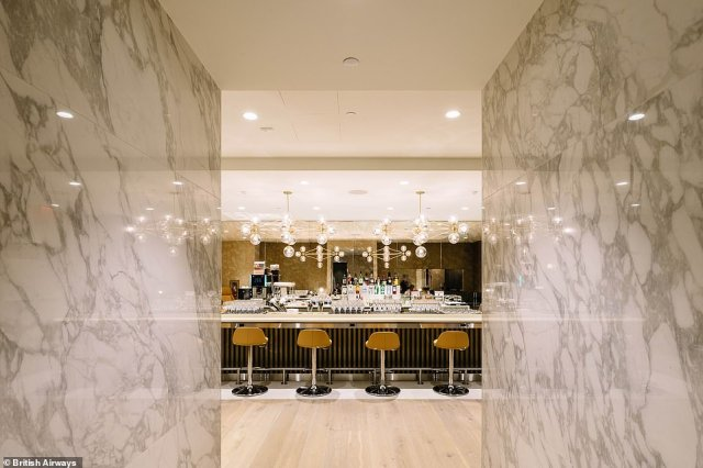 If customers don't fancy wine, they can always head to the opulent new bar, which BA says stocks a range of premium drinks
