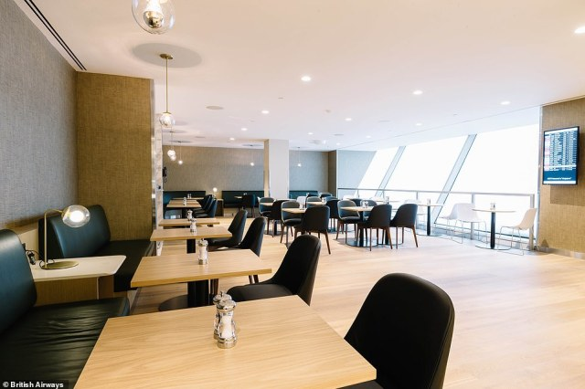 The brand new first class lounge is60 per cent larger than its predecessor - it covers more than 5,480 square feet