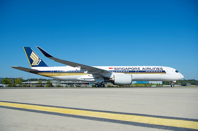 Singapore Airlines Flight SQ22 will use the long-range Airbus A350-900ULR, pictured, configured to carry 161 passengers - 67 in business class and 94 in premium economy