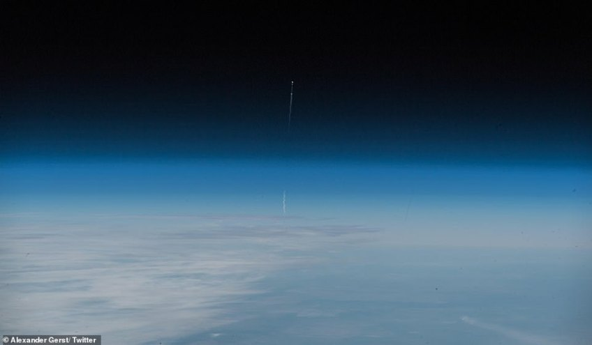 A photo taken from the International Space Station by astronautAlexander Gerst who is currently working there shows the flight path of the aborted Soyuz spacecraft as it soared into the atmosphere and almost entered the Earth's orbit before eventually plummeting back to earth because of the technical malfunction in its booster. Gerst said: 'Glad our friends are fine. Thanks to the rescue force of 1000 SAR professionals! Today is again showing what an amazing vehicle the #Soyuz is. Spaceflight is hard. And we must keep trying for the benefit of humankind'