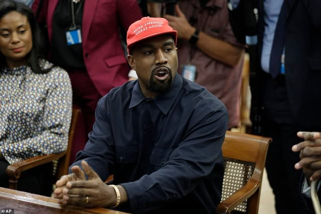 'Genius': The president praised Kanye in a Fox News interview earlier in the morning, then greeted Kanye in the Oval Office