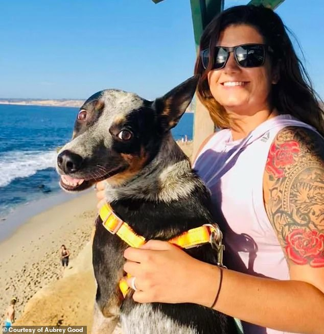 Doctors originally diagnosed Good (pictured with her therapy dog, Roo) with depression and put her on an antidepressant, which she used for three years but didn't help
