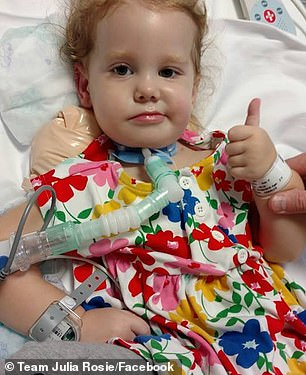 In September, Julia (pictured) was diagnosed with acute flaccid myelitis (AFM) in 16 US states so far this year