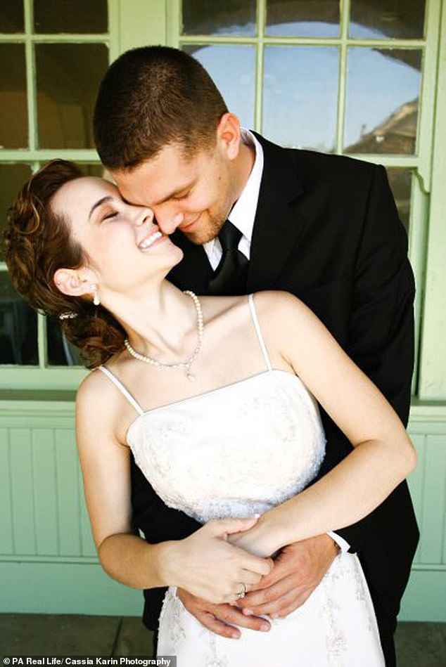 Ben Coussens, 31, and Emily, 28, stayed celibate throughout their two-year courtship - and promised to finally make love on their wedding night (pictured on their wedding day in September 2009)