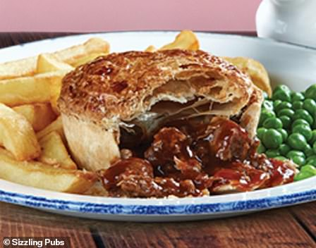 Sizzling Pubs British Steak Pie - served with chips and peas
