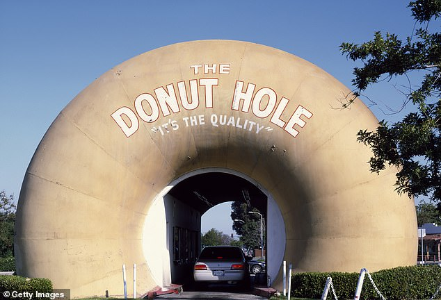 The Donut Hole drive-thru in Los Angeles, California, which is one of the most photographed bakeries in the United States