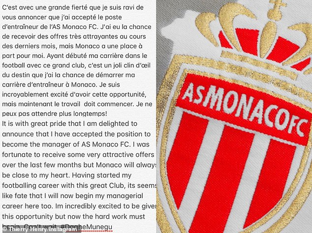 Henry also posted a heartfelt message on Instagram, claiming his return to the club is 'fate'