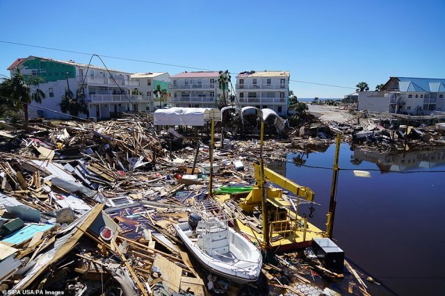 Blue sky and calm water belies the damage done by Hurricane Michael to the Mexico Beach, Florida, area