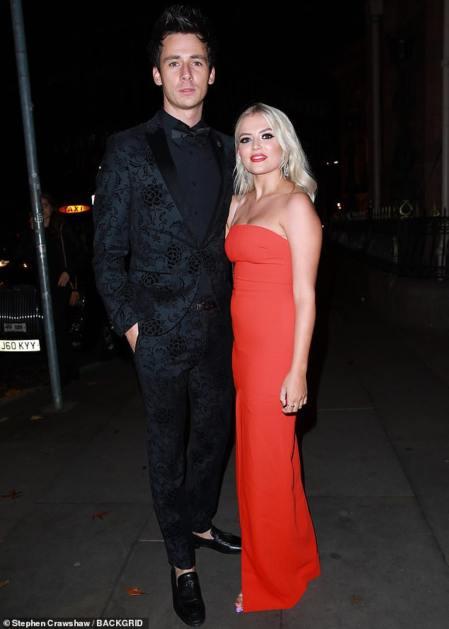 Lady in red: Lucy, who plays Bethany Platt in the show, oozed glamour as she wore her platinum locks in bouncy curls and completed her look with a bold red lip