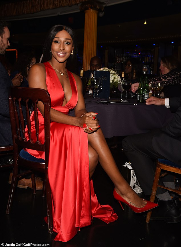 Red hot: Alexandra later changed into a plunging red dress for the sit-down meal