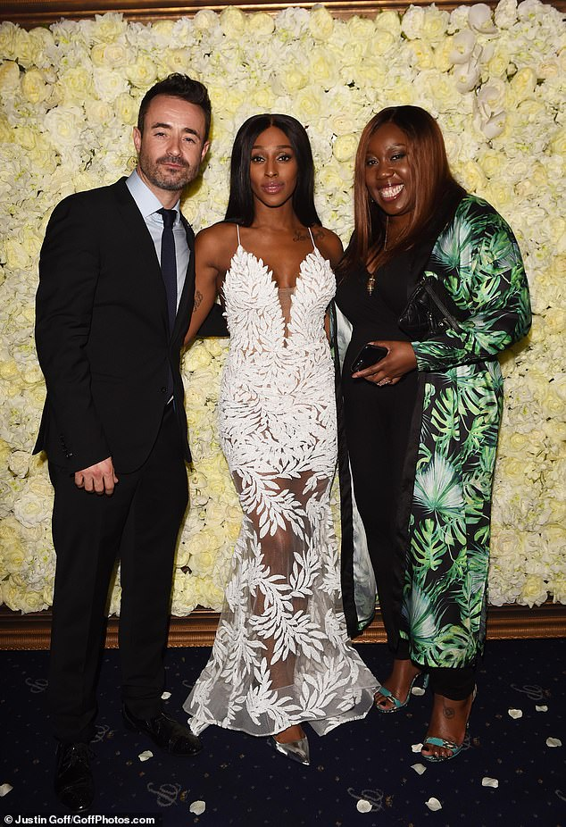 Strictly reunion: The 2017 Strictly favourite posed with her co-stars Joe McFadden and Chizzy Akudolu on the red carpet