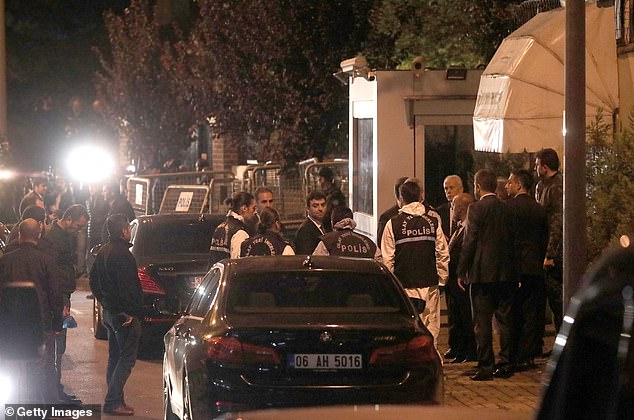 Turkish forensic investigators gather on the steps of the Saudi consulate in Istanbul as they prepare to enter the building last night