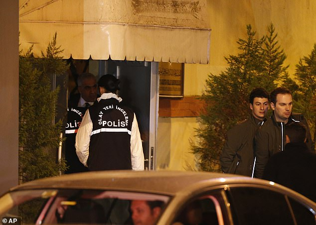 Police officers disappeared inside the building and were given license to examine it by Saudi officials