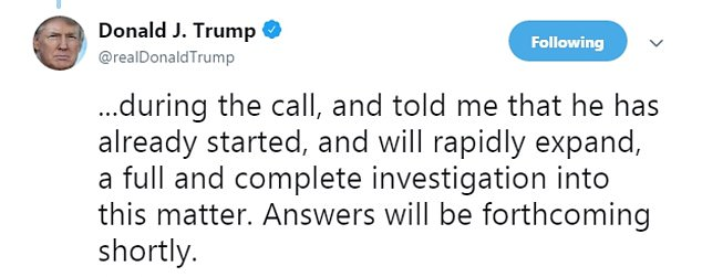 Trump tweeted that he had spoken to the Crown Prince over the phone on Tuesday who 'denied knowledge of what took place'