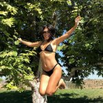 Kourtney Kardahian all fun in black bikini