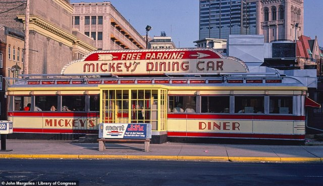 Mickey's Dining Car on West 9th Street in St Paul, Minnesota, in 1984. It still operates as a 24-hour diner today
