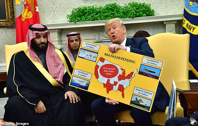 Real power: Crown prince Mohammed bin Salman is the de facto ruler of Saudi Arabia and had been hailed by Trump and given a red-carpet welcome to the Oval Office in March