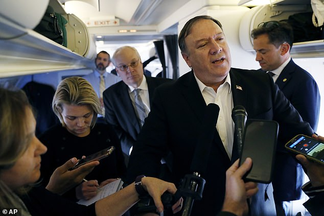 Secretary of State Mike Pompeo refused to comment on the reported existence of the tape as he spoke to reporters on Wednesday after a stop in Ankara: 'I don't have anything to say about that