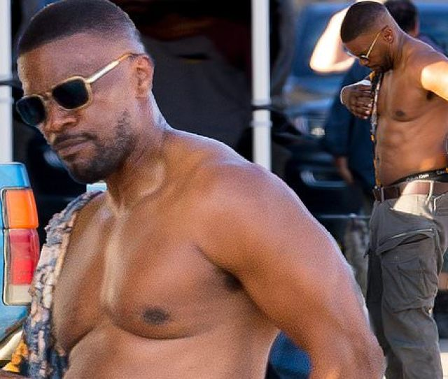 Jamie Foxx Shows Off His Muscular Physique After Push Ups On The Set Of New Netflix Movie Power