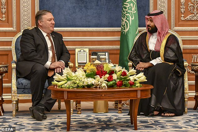 Secretary of State Michael R. Pompeo (left) met with Saudi Crown Prince Mohammed bin Salman (right) in Riyadh, Saudi Arabia on Tuesday in an attempt to diffuse the crisis