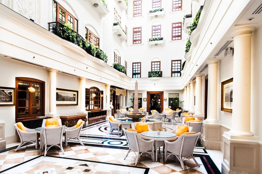 The atrium tea lounge at The Imperial, where guests will feel like they're extras in a James Bond movie