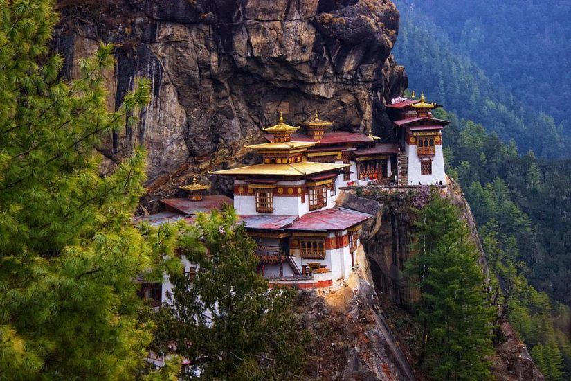 A helicopter tour on Day 22 in Bhutan will take guests to see the Taktsang Monastery (Tiger's Nest), which is perched on the side of a mountain. It's a prominent sacred Himalayan Buddhist site