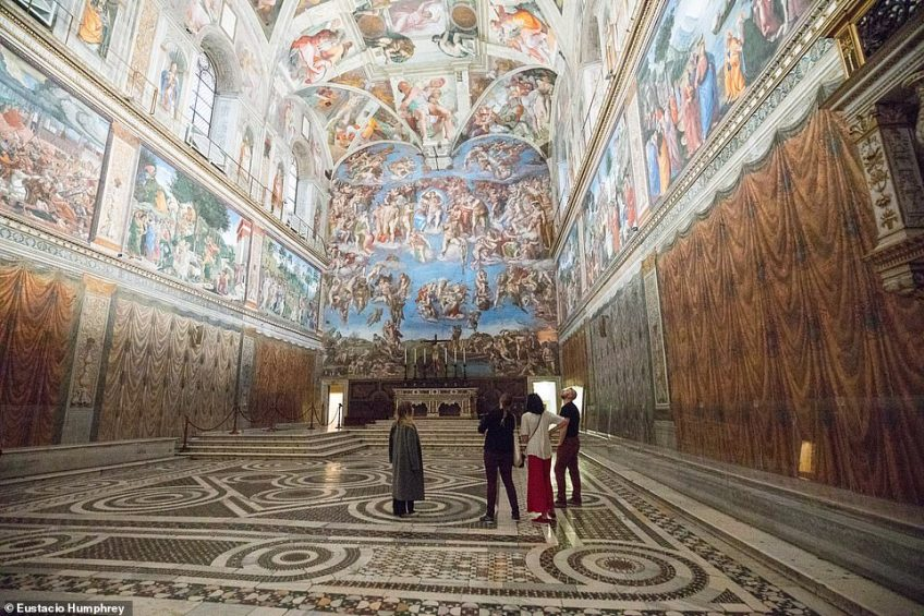 Each day, a small number of tourists can join the 'Clavigero' (the Vatican key holder) as he unlocks the doors to the Sistine Chapel, pictured, Raphael's rooms, the Galleries, and more -  hours before these iconic sites open to the public