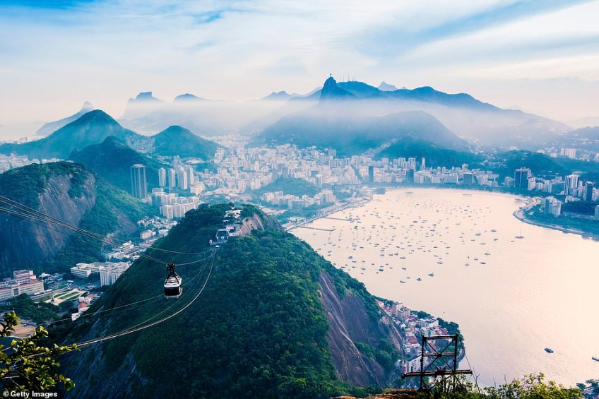 If tourists want to extend the experience from the Christ the Redeemer statue, they can hop on a cable car, pictured, to the top of Sugar Loaf Mountain