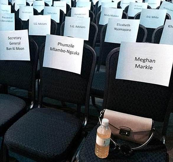 Big event: Meghan marked her spot at the UN where she was giving a talk in 2015. She wrote she was 'excited' to be placed close to Hillary Clinton, whose seat was just out of shot